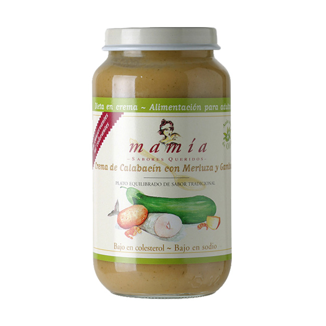 Calabacín Merluza Gambas Dieta Crema Mamía